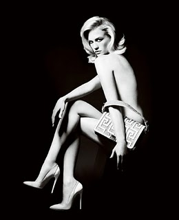 January Jones in Versace's 2010 black and white ad campaign